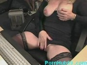 Horny mature masturbating and squirting while watching porn on computer