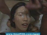 Japanese bukkake cutie gets her sweet face covered in sperm