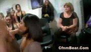Amateur brunette sucks cfnm stripper to orgasm at cfnm party