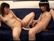 2 Young Asian Girls With Tiny Tits Sucking Fucking With Double Dildo Stimulating Their Pussies With