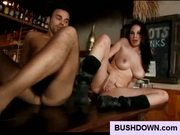 Hairy pussy bargirl knows how to fuck a guy