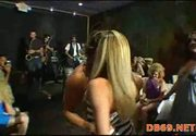 Woman fucks a stripper in front of her co-workers
