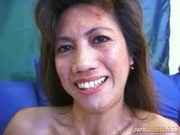Filipina bitch rides a white Dick