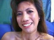 Filipina bitch rides a white Dick