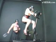 Girl In Gasmask Cycling Getting Spanked Fingered Fucked With Paddle By Master In The Dungeon