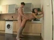 cute teenage couple fucking in kitchen