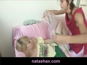 Natasha Shy blindfolds her blonde girlfriend and has some kinky lesbian fun