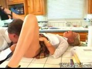 Blonde babysitter gets fucked in the kitchen