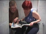 Mom and son having sex in toilet
