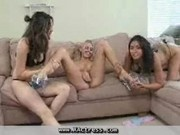 Three girls enjoy each others company