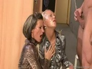 fully clothed trio ends with steamy pissing fun