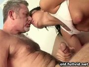 Teen oral with old man
