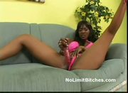 Hot lesbian hooker makes black girlfriend squirt using dildo