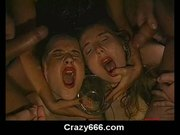 Messy cum bukkake with 2 german cum covered girls