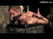Blonde Girl Tied Legs And Arms Mouthgagged Whipped Fucked With Dildo Spanked On A Box In The Dungeon