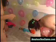 Naked amateur girls play sex games with balloons