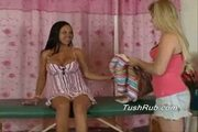 Kathleen gets a full body lesbian massage - in and out!