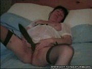 Housewife Trudy masturbating with big cucumber
