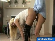 A british blonde babe gets fucked and creamed by an older gentleman