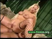 Horny blond banged by two cocks in both holes