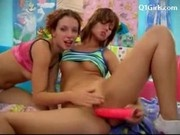 2 Cute Girls In Colorful Clothes Kissing Licking Fucking Each Others Pussies Using Toys In The Girls
