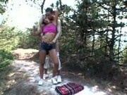 Slutty Blonde Jenny Sanders fucks in the woods