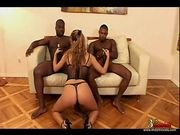 Awesome Looking Whore Gets Fucked By Two Huge Black Cocks
