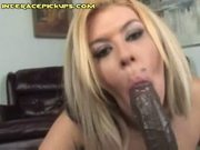 White slave sucks black dick