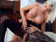 HOT blonde euro chick rides a thick cock in a lingerie bodysuit