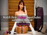Brunette College Slut Chokes Down that Big Cock - CollegeSweetBabescom
