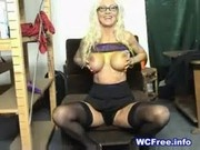 Mature Blonde Plays with Dildo on Webcam