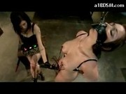 Girl With Harness Hanging Getting Electricty To Her Nipples Pussy Stimulated With Vibrator By Mistre