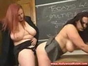 Hot teacher with big tits licks