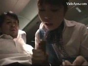 Stewardes Kissing With Passenger Jerking Sucking His Cock On The Airplane