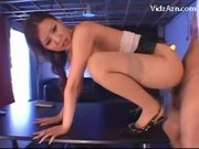 Cute Girl On High Heels Stocking Getting Her Pussy Fucked On The Table