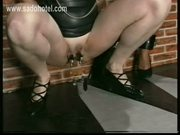 Master puts metal clamps on pussy lips and nipples of two ho