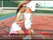 Melanie - Hot two holey match on tennis court2