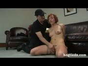Hogtied redhead with pierced nose