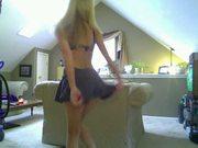 Blond eating her juice pantie