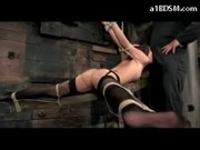 Brunette Girl In Stockings Tied On Cross Fingered Whipped Sucking Cock Fucked In The Dungeon