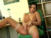 Mili masturbates in sheer stockings