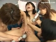 Asian Girl With Hand Bandage Screaming While Getting Her Pussy Nipple Stimulated Fucked With Toys By