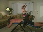 Two Mistress spanking &  whipping a slave