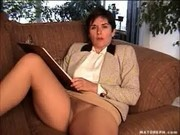 MILF on the couch in tan pantyhose