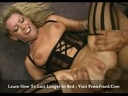 Blonde milf slut takes on two black studs