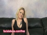 Blonde mother lets two guys degrade her