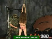 Drill sergeant abuses and spanks a slavegirl in bondage