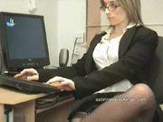 Secretary in stockings upskirt flashing
