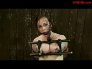 Fat Girl With Tied Legs And Arms Mouthgag Nipple Clips Whipped Pussy Stimulated With Vibrator By Mas