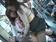 Schoolgirl Getting Fingered Squirting While Pussy Rubbed With Strapon On The Bus